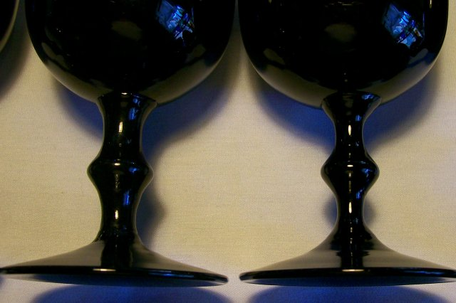 Colony Black Amethyst Glass Goblet Set /4 1930's-50's 6