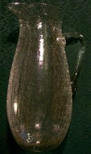 Tall Clear Crackle Glass Pitcher