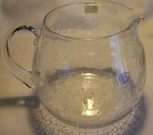 Large Clear Crackle Glass Pitcher