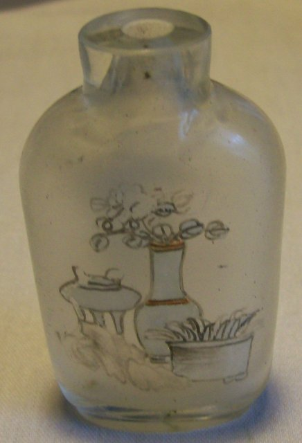 Antique Chinese Reverse Painted Glass Snuff Bottle Bird with Rocks/Vases