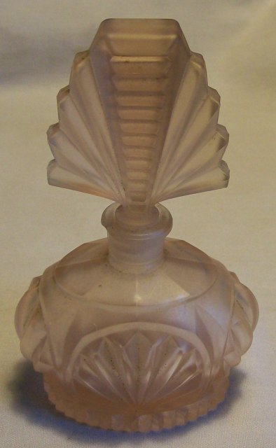 Pink Satin Glass Perfume with Ground Stopper