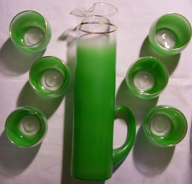 West Virginia Specialty Glass Green Blendo Beverage Set 1950s