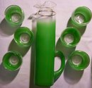 Frosted Glass Beverage Set: Green Blendo