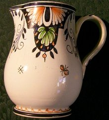 French Faience Ceramic Pitcher:
