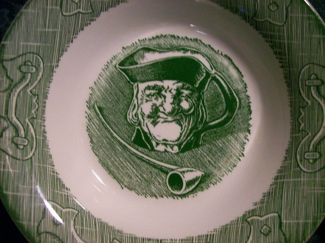 Royal Old Curiosity Shop Ceramic Bowl Set of 4 Green Pictorial