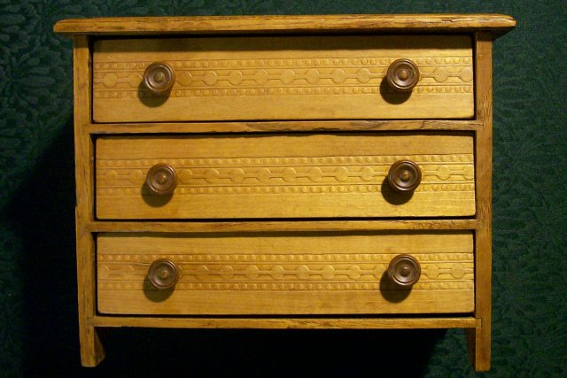 Antique Child's Toy Pressed Oak Dresser/Chest Ca. 1900