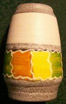 West German Ceramic Vase #557-14 Green/Yel/Or Blocks