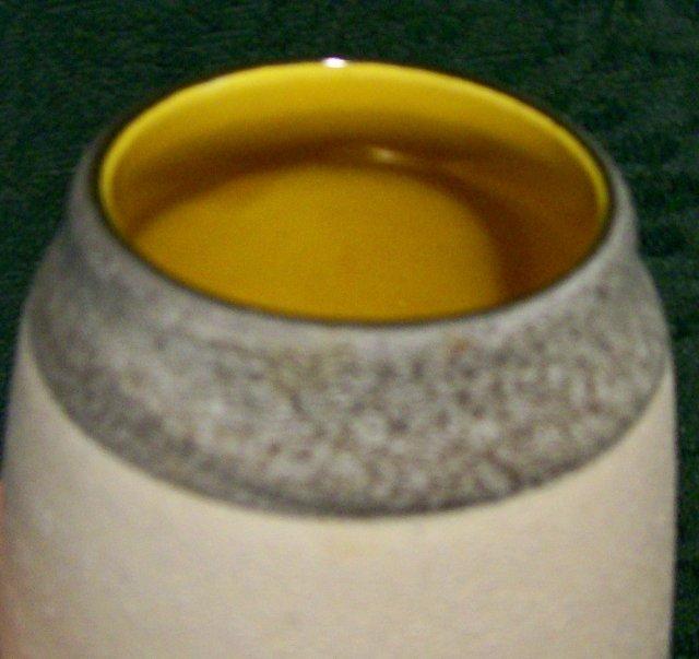 West German Ceramic Vase #557-14 Green/Yel/Or Blocks