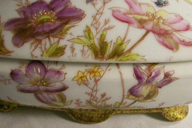 Gutherz Limoges Porcelain Covered Bowl w/Lid 1880s-90s 8