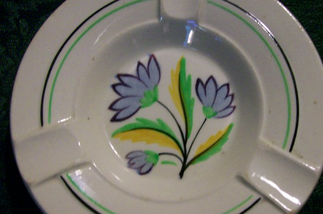 Spode-Copeland Ceramic Ashtray Pair:  1930's Art Deco Flowers