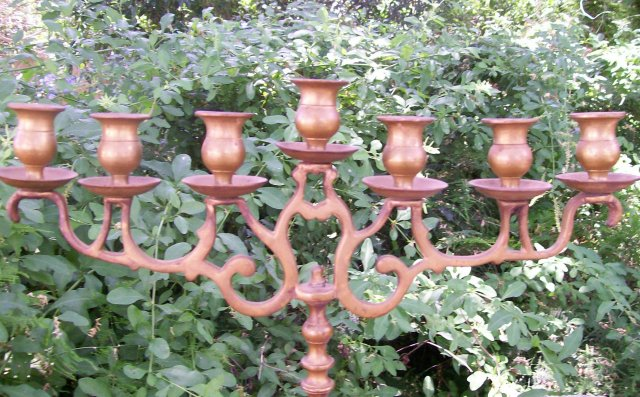 Antique Brass Candelabra/Candleholder: 7 Light