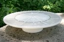 Hocking Glass Pedestal Cake Stand #W-100 Ivory with Gold