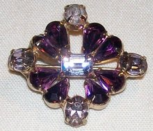 Purple Hearts Rhinestone Concave Pin True Vintage
