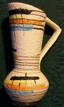 Bay West German Ewer: 1950's Multi-Color Abstract Design