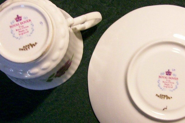 Royal Dover Bone China Cup & Saucer: April Sweet Pea