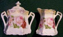 German Art Nouveau Ceramic Cream & Sugar Set: Late 1800's Roses