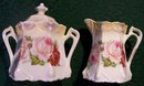 German Art Nouveau Ceramic Cream & Sugar Set: Late 1800's Roses