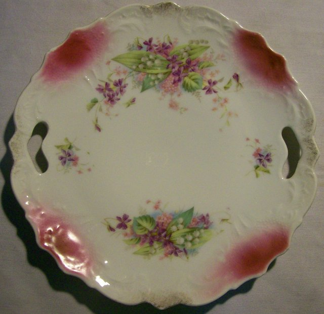 Antique Cake Plate with Lily-of-the-valley/Violet: Cut-out Handles