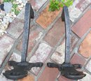 Victorian Fireplace Andirons: Sand-Cast Iron