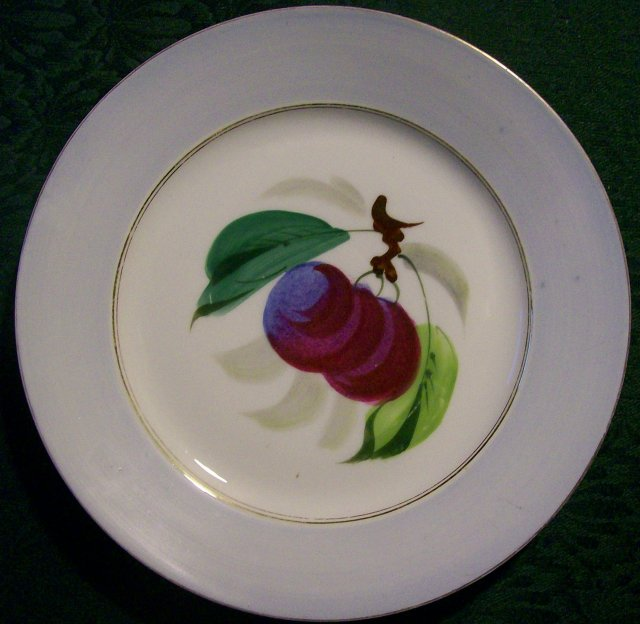 Limoges Delinieres Porcelain Plate: Hand-painted Plums/ Gray Border 1870's