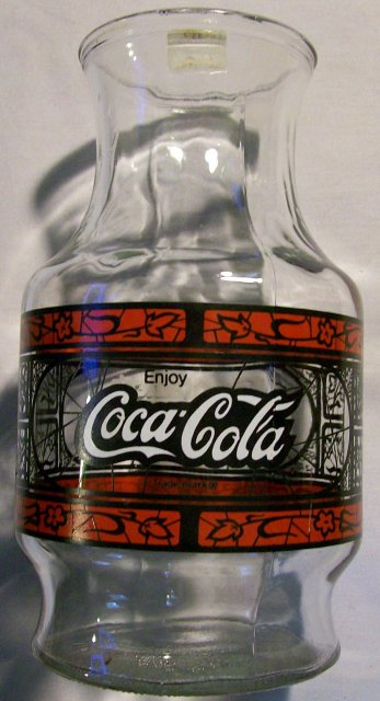 Coca-Cola/Godfather's Pizza Advertising Stained-Glass Carafe