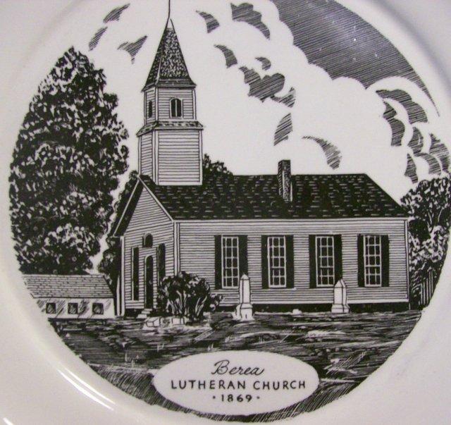 Berea Lutheran Church Pennsylvania Ceramic Plate Harker Pottery 1940s-50s