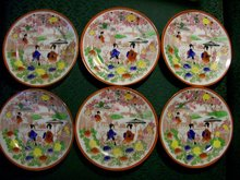 Nippon Geisha Girl Porcelain Plate Set of 6 Parasol C Red Border