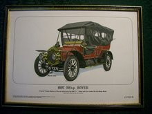 Framed Antique Auto Limited Edition Print: 1907 Rover