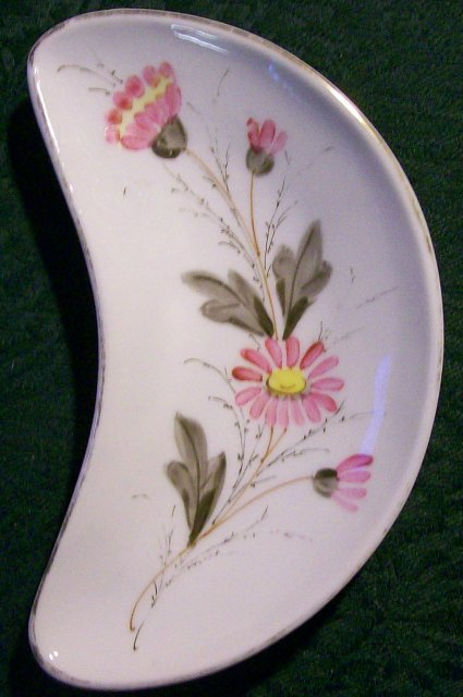 1800's Bone Dish: Hand-painted Flowers