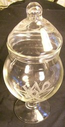 Apothecary Jar with Religious Symbols:  Engraved Glass