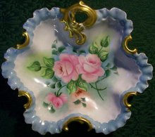 Hand-Painted Roses Dish:  Artist Signed
