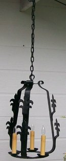 Hand Wrought Iron Chandelier with Fleur-de-lis Decoration