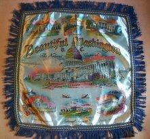 Travel Souvenir Satin Pillow Cover  Washington D.C. 1940's-50's