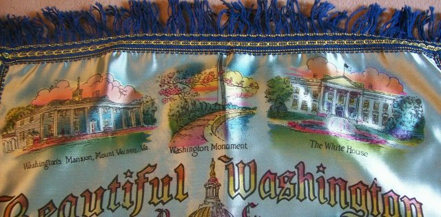 Travel Souvenir Satin Pillow Cover  Washington D.C. 1940's-50's