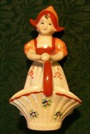 Occupied Japan Dutch Girl with Open Basket Ceramic Figurine 4.5
