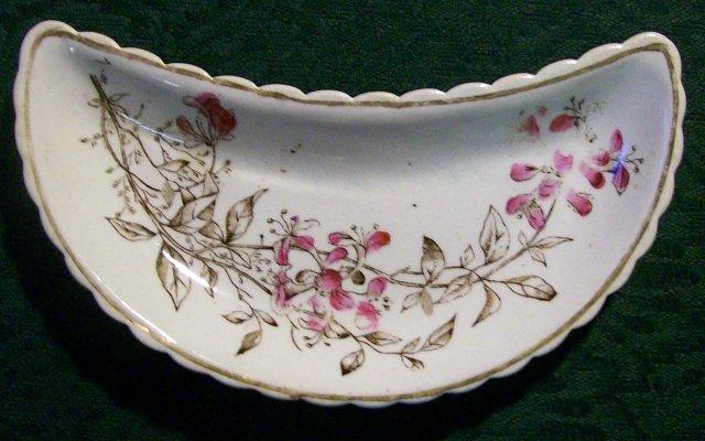 Aesthetic Brown Transfer Ceramic Bone Dish Enamel Trim 1870's-90's