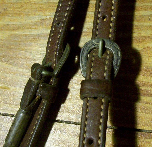 Ricardo Horse Bridle Circa 1950s Leather & Engraved Sterling/Nickel Silver & Copper
