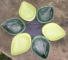 1950's Ceramic Lazy Susan: Chartreuse & Dark Green