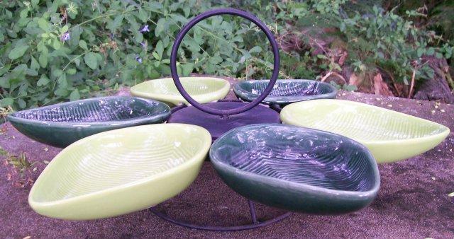 1950's Ceramic Lazy Susan: Chartreuse & Dark Green