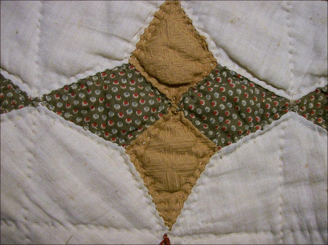 Primitive Handsewn Quilt Late 1800's 4-Point Star Cotton/Wool 64 X 84