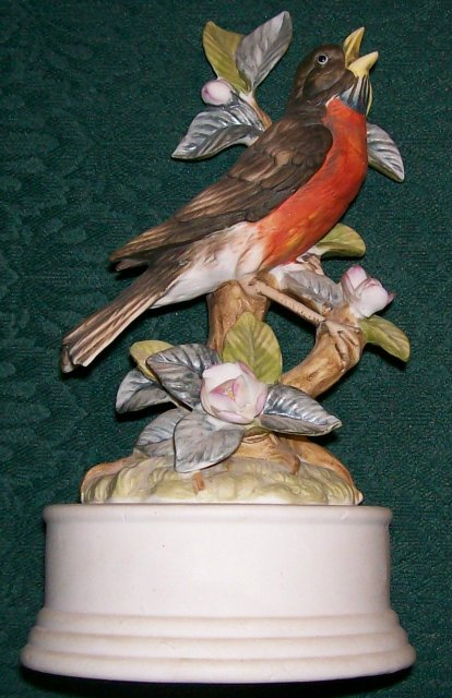 Ceramic Robin Bird Figurine Music Box: Edelweiss