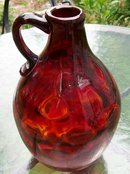 Ruby Red Glass Coin Dot Jug Blown-in-Mold Pattern 8.25