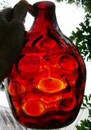 Clevenger Ruby Red Glass Coin Dot Jug Blown-in-Mold Pattern 8.25