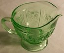 Sharon/Cabbage Rose Creamer Green Glass 1935-39