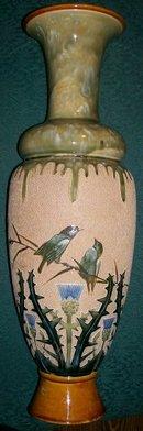 Doulton Lambeth Oversized Ceramic Vase Florence Barlow Birds & Thistles 20 3/8