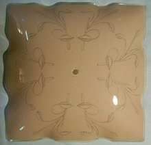 Bentglass Ceiling Light Shade 1960's Pink / Clear