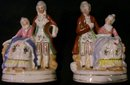 Occupied Japan Ceramic Figurine Matched Pair Colonial Couples 4 5/8