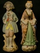 Occupied Japan  Bisque  Figurine Pair:  Colonials
