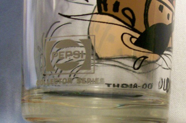 Pepsi/P.A.T. Ward Collector's Advertising Glass Dudley Do-Right in Canoe 70s 6 5/8
