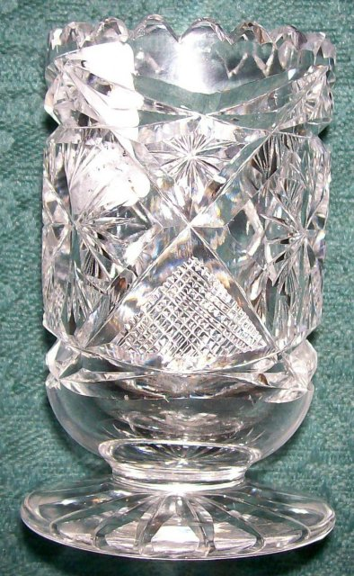 Brilliant Cut Glass Footed Toothpick Holder